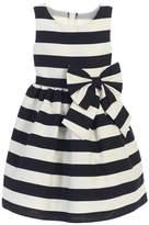 Sweet Kids Little Girls White Stripe Ribbon Accent Occasion DressT