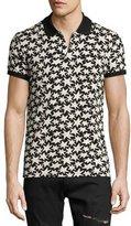 Saint Laurent Allover Star-Print Polo Shirt, Black/White