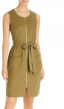 T Tahari Belted Zip Front Dress