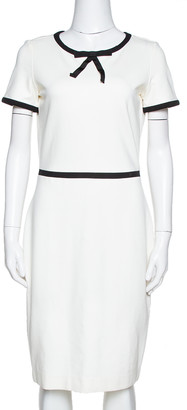 Carolina Herrera Off White Jersey Bow Detail Sheath Dress S