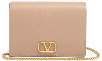 Valentino V-logo Grained-leather Shoulder Bag - Nude