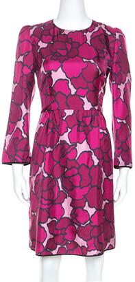 Marc Jacobs Marc Jacob Pink Floral Printed Silk Paneled Detail Midi Dress M