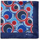 Kiton Retro Circle Printed Silk Pocket Square, Blue