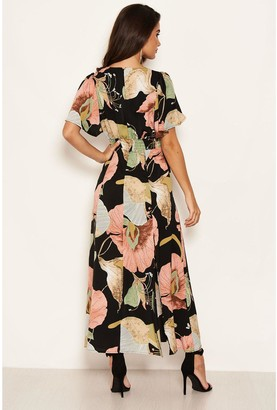 AX Paris Printed Maxi Dress - Black