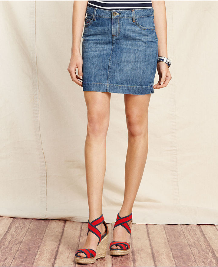 Tommy Hilfiger Skirt, Denim Mini, Hibiscus Vintage Wash