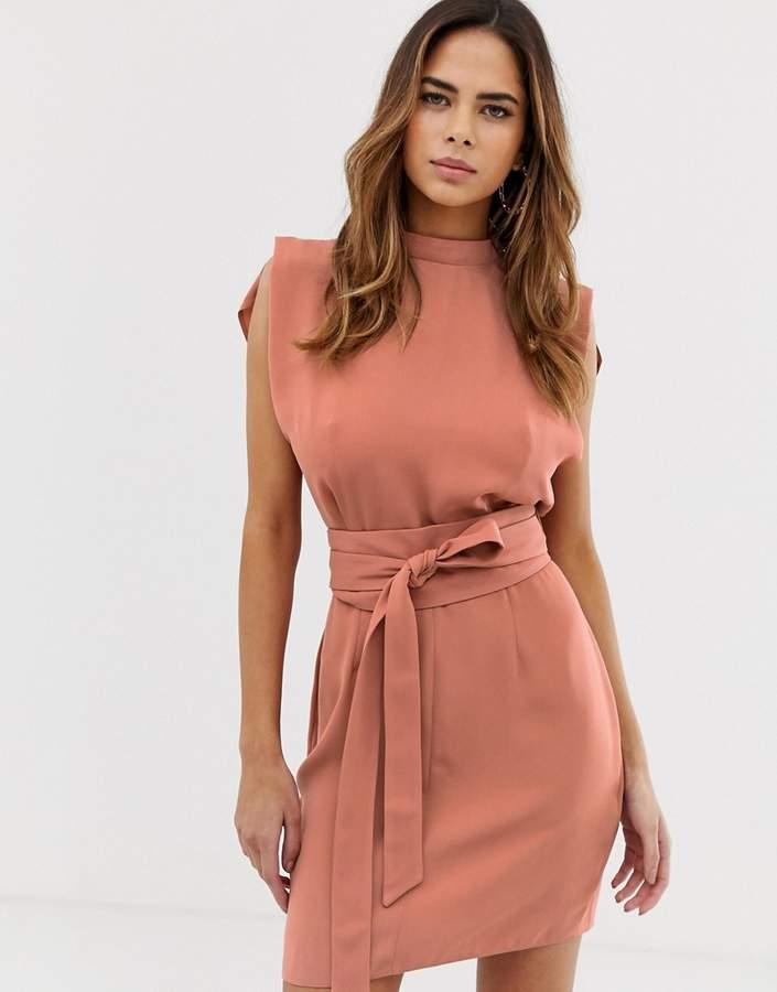 Asos Design DESIGN split sleeve mini dress with obi belt
