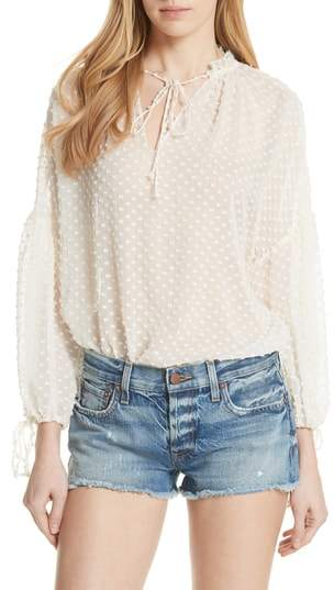 Alice + Olivia Swiss Dot Silk Blend Blouson Top