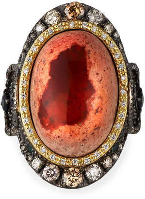 Armenta Old World Mexican Fire Opal Ring w/ Diamonds & Tourmaline