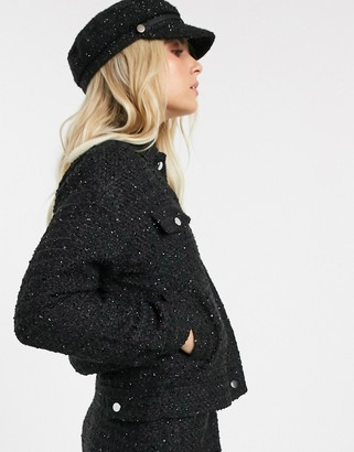 Pimkie boucle glitter trucker jacket co-ord in black