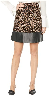 MICHAEL Michael Kors Cheetah Leather Mini Skirt (Dark Camel) Women's Skirt