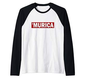 Murica Patriotic Slogan Fourth of July Raglan Baseball Tee