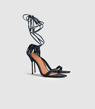 Reiss Zhane - Suede Strappy Wrap Sandals in Ink