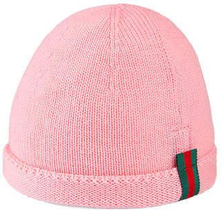 dc9f04a1f4463 Gucci Kids  Knit Web Trim Beanie Hat