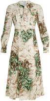 Prada Abstract-print tie-neck crepe midi dress