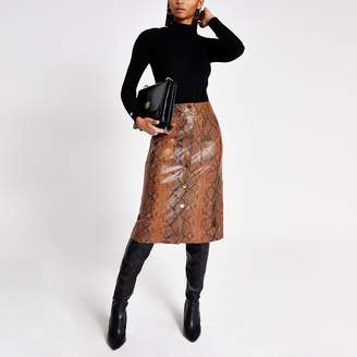 River Island Womens Brown faux leather snake print midi skirt