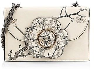 Oscar de la Renta Mini Floral Saffiano Leather Crossbody Bag