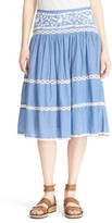 Joie Embroidered Chambray Skirt