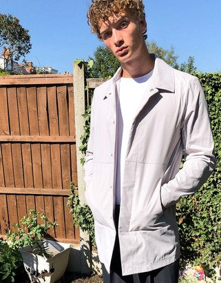 ASOS DESIGN light weight single breasted trench coat in pastel purple