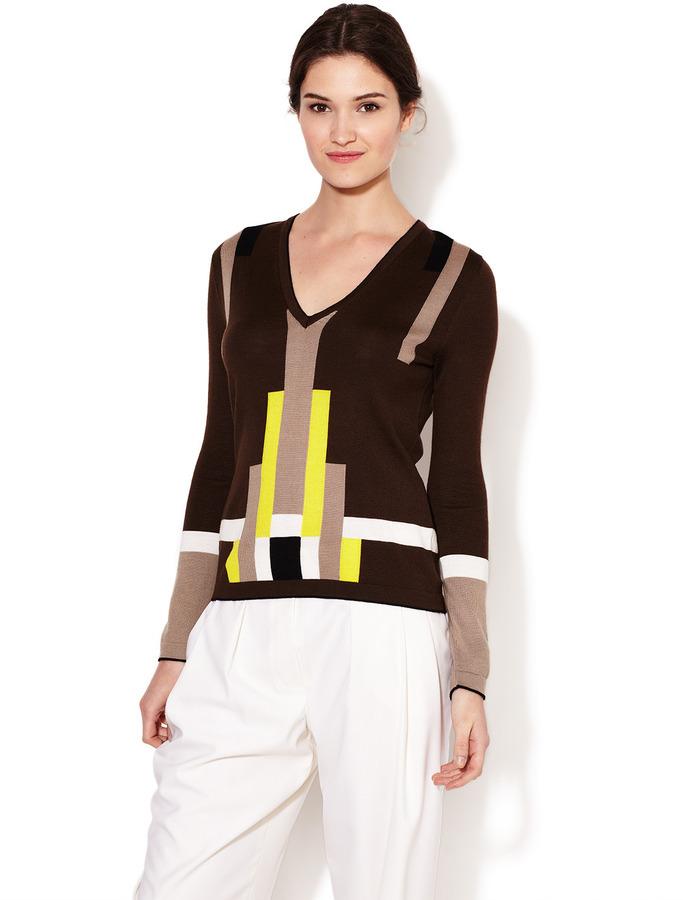 Carolina Herrera Printed Wool V-Neck Sweater
