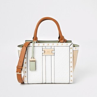 River Island Womens White RI embossed studded tote bag