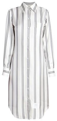 Thom Browne Collared Pinstripe Silk Shirtdress