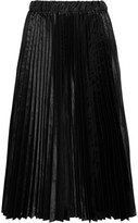 Comme des Garcons Pleated Satin Midi Skirt - Black