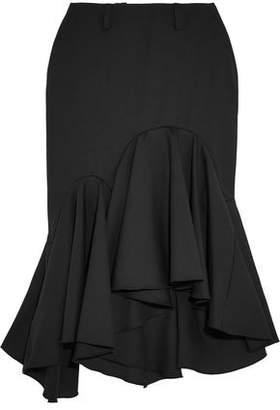Facetasm Ruffled Wool-crepe Midi Skirt
