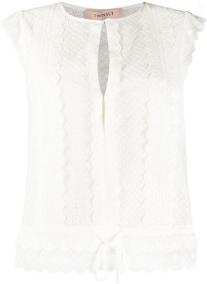 Twin-Set Embroidered Sleeveless Top