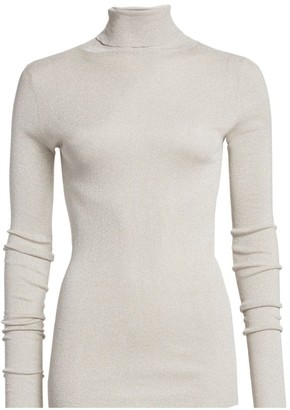Brunello Cucinelli Slim Lurex Ribbed Turtleneck