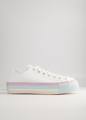 Converse Chuck Taylor All Star Lift Oxford in White/Lilac Mist/Polar Shoes, Size 8 | Leather