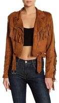 Missguided Fringed Faux Suede Biker Jacket