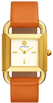 Tory Burch The Phipps Leather Strap Watch, Golden/Orange