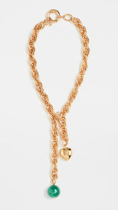 Timeless Pearly Gold Heart & Green Ball Necklace