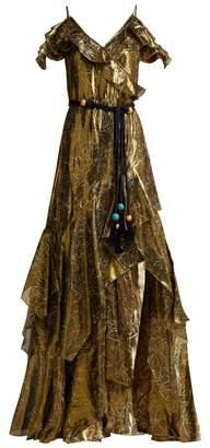 Peter Pilotto Off-the-shoulder Silk-blend Lame Dress - Womens - Gold