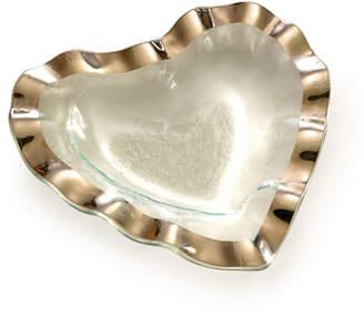"Annieglass Ruffle Platinum 8"" Heart Bowl"