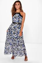 Boohoo Petite Suzie Palm Print Square Neck Maxi Dress
