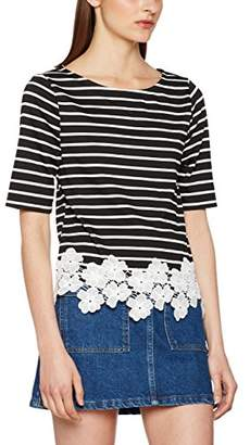 New Look Women's Ponti Stripe Floral Trim T - Shirt,8 (EU 36)