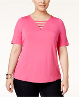 INC International Concepts Plus Size Strappy V-Neck Top, Only at Macy's