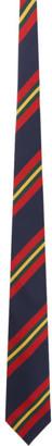 Drakes Navy Sandwich Stripe Neck Tie
