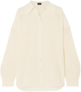 Magda Butrym Vegas Oversized Fringed Silk Crepe De Chine Shirt
