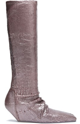 Rick Owens Metallic Cracked-leather Wedge Boots