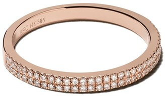 Ef Collection 14kt Rose Gold Double Diamond Eternity Band Ring