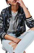 Topshop Women's Camo Sequin Bomber Jacket