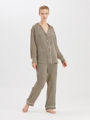 Oscar de la Renta Stripey Dots Satin-Crepe Pajama Shirt