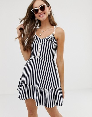Asos Design DESIGN mini sundress with button front and pep hem in stripe-Multi