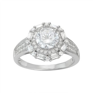 Sterling Silver Cubic Zirconia Tiered Halo Ring