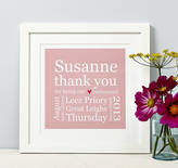 N. Spotty Stripy Personalised Bridesmaid Thank You Print