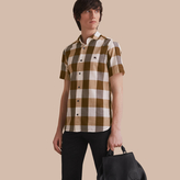 Burberry Short-sleeved Exploded Gingham Cotton Linen Shirt, Brown