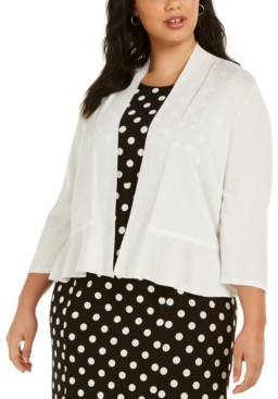 Kasper Plus Size Open-Front Ruffled Cardigan