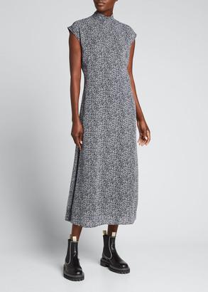 Ganni Floral-Print Georgette Mock-Neck Dress